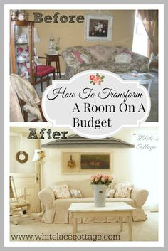 Before And After Room Makeover On A Budget. Sharing tips on how YOU can transform a room on a budget. www.whitelacecottage.com