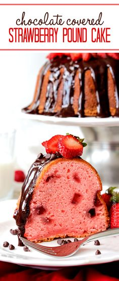 food drink: CHOCOLATE COVERED FRESH STRAWBERRY POUND CAKE