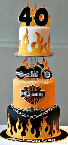 4 Super Genius Useful Tips: Harley Davidson Sportster Posts harley davidson clothing website.Harley Davidson Models Products harley davidson forty eight orange.Harley Davidson Forty Eight Blue. Motorcycle Birthday, Motorcycle Cake, Unique Cakes, Creative Cakes, Torta Harley Davidson, Harley Davidson Tattoos, Beautiful Cakes, Amazing Cakes, Fondant Cakes