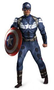 Disguise Men's Marvel Movie 2 Captain America Classic Muscle Costume, Blue/White, X-Large/42-46
