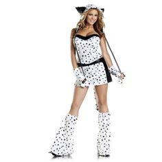 Darling Dalmation Adult Womens Costume Price: $136.00  8 Piece Darling Dalmatian includes lace-up corset skirt leg warmers hood wrist cuffs and tail.  #cosplay #costumes #halloween