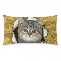 InterestPrint Lovely Cat Yellow Vintage World Map Pillowcase Standard Size 20 x 36 Inches One Side for Couch Bed - A Funny Cat Climb out of Vintage World Map Pillow Cases Cover Set Shams Decorative Outside Wall Art, Outdoor Wall Art, Hanging Art, Tapestry Wall Hanging, World Map Tapestry, Cat Climbing, Yellow Cat, Cat Scratching, Kittens Cutest