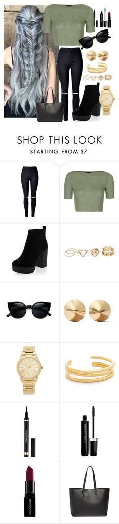 """""""•day with friends•"""" by penguinx14 ❤ liked on Polyvore featuring WithChic, Topshop, Eddie Borgo, Michael Kors, Madewell, Yves Saint Laurent, Marc Jacobs and Smashbox"""