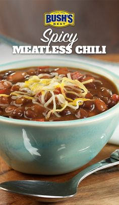Spicy Meatless Chili: Ready in under 20 minutes, this chili gets some heat from jalapeños and Bush's Cocina Latina® Pintos a la Diabla.