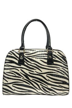 Zebra Print And Solid Trim Accented Top Handle Satchel Bag With Strap #GetEverythingElse #Satchel