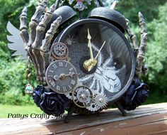 Tim Holtz Altered Clock with skeleton hands mix media steampunk gothic by Pattys Crafty Spot, actual working clock.
