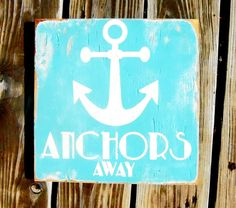 Typography Wall Art Anchors Away Wood Sign by 13pumpkins on Etsy, $60.00