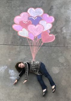 Balloons carried away love. - Kids' Crafts Valentine's Day. Balloons carried away love. Valentines Greetings, Love Valentines, Valentine Crafts, Valentines Balloons, Valentine Decorations, Valentine Ideas, Chalk Photography, Creative Photography, Funny Photography