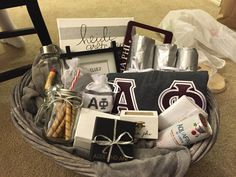 Crafty Alpha Phi big and little sorority basket! So cute and creative!