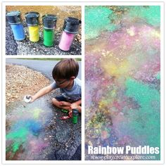Rainbow Puddles- this is just about one of the COOLEST play ideas I have ever seen! I can't wait to take the girls rainbow puddle jumping!