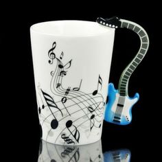 for ricker? Handmade Electric Guitar Mug Blue Electric Guitar, Unique Gifts, Great Gifts, Things To Buy, Stuff To Buy, Music Gifts, Household Items, Tea Pots, Mugs