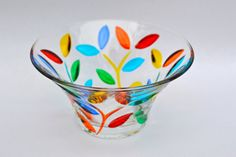 Delicate flower vine pattern, hand-painted on Italian crystal serving bowl. This gorgeous bowl can be used as part of a stunning centerpiece on a festive table or as a catch-all on a desk or table. It can also be used to serve salsa, candies, nuts or any of your favorite appetizers. One hundred percent made in Italy, hand-painted in Murano, this is a special piece that will make an extraordinary gift for yourself or another.