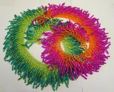 """""""Wuschel"""" - giant bead-fringed necklaces by Christa Kohlbauer (www. Seed Bead Necklace, Seed Bead Jewelry, Beaded Jewelry, Beaded Bracelets, Jewellery, Seed Beads, Embroidery Jewelry, Beaded Embroidery, Beading Patterns"""
