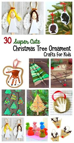 30 of the Cutest Christmas Ornaments for Kids to Make: Adorable homemade Christmas ornament crafts for children to make and hang on the Christmas tree. They make wonderful keepsakes and handmade gifts too! You'll find candy cane ornaments, Santa ornaments, reindeer ornaments, and even photo frame ornaments.
