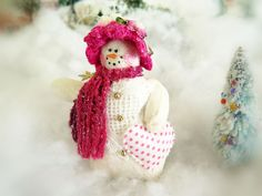 Your place to buy and sell all things handmade Pink Christmas, Christmas Snowman, Winter Christmas, Handmade Christmas, Christmas Ornaments, Heart Ornament, Snowman Ornaments, Snow Men, Pink Cheeks