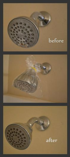 Descale your shower head by pouring distilled vinegar in a sandwich baggie and securing it around the shower head with a rubber band. Leave the baggie on the shower head for 1 hour :D Wipe with a wet cloth, and use the remaining vinegar to shine the faucets by dabbing a cloth into the remaining vinegar in the baggie and rubbing it on the faucets and any surface areas.