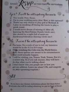 Wedding RSVP with Yes/No choice replaced with humorous and specific options | 22 Words