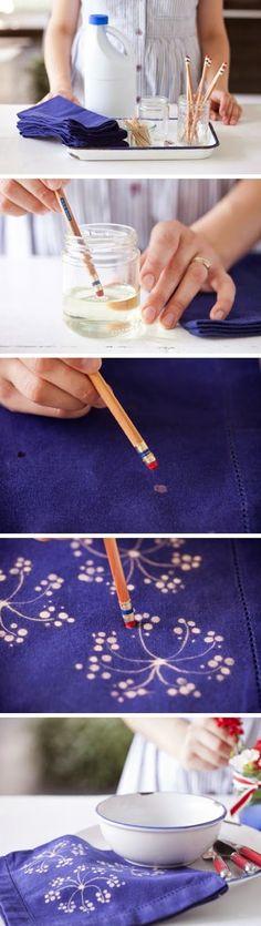 Tekenen op stof met Bleekwater