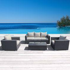 Corvus Dark Brown 4 piece Outdoor Seating Set
