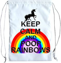 Keep calm and poop rainbows Unicorn Drawstring bag School Gym Sports bags by MintDoodles on Etsy