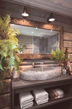 Rustic Bathroom Designs, Bathroom Interior Design, Industrial Bedroom Design, Rustic Bathroom Vanities, Rustic Bathrooms, Modern Bathroom Design, Design Kitchen, Kitchen Interior, Interior Design Magazine