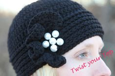 Crochet beanie with divine ruffle with pearls by Twistyourtop, $30.00