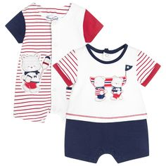 Boys and girls, pack of 2, cotton jersey shorties from Mayoral Newborn. The set includes a red striped shortie with cute, animal print jersey appliqués and a patch pocket. The other, red, white and blue shortie is decorated with a bear and boat print. Both shorties have short sleeves and popper fastenings down the back and between the legs.