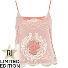 coral double layer embellished cami - going out tops - tops - women - River Island