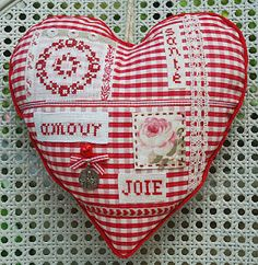 Pretty hand-stitched gingham heart