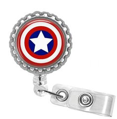 Retractable ID Badge Reel Unisex Captain America Bottle Cap Reel Badge ID, Nurse Badge Reel, Bling Badge Reel on Etsy, $7.95