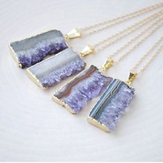 •amethyst slices• Amythest slice on gold plated chain.  Price firm unless bundled. Jewelry Necklaces