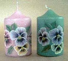 hand painted pansy candles (I would never want to use these!--too pretty)