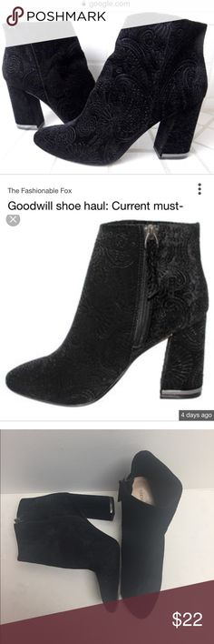 """Target Who What Wear Velvet Booties Gorgeous black velvet ankle boots from the Who What Wear collaboration from Target in a stunning subtle paisley pattern. In great condition with some wear to the bottom of the soles, but no visible wear anywhere else. 3 3/4"""" heel. No box. Who What Wear Shoes Heeled Boots"""