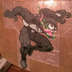 Venom by Klep2024 Pixel Beads, Fuse Beads, Pearler Beads, Hama Beads Patterns, Beading Patterns, Marvel Cross Stitch, Minecraft Pixel Art, Iron Beads, Beaded Cross Stitch
