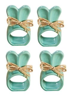 Set of 4 Turquoise Ceramic Easter Bunny Napkin Rings with Raffia Bows