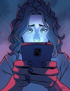 Magazine cover illustrated for the Social Media issue for SOS Safety Magazine. Sad Drawings, Art Drawings Sketches, Cyber Bullying Poster, Arte Digital Fantasy, Social Media Art, Deep Art, Arte Obscura, Sad Art, Medium Art