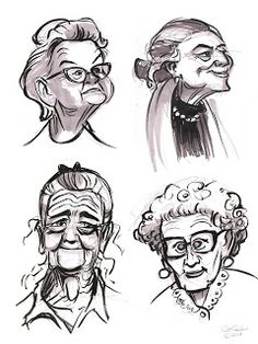 The Ol' Sketchbook Little Old Ladies - Old Lady Cartoon Drawing Easy People Drawings, Sketches Of People, Drawing People, Pencil Drawings Of Flowers, Cute Drawings, Drawing Sketches, Lady Drawing, Drawing Tips, Character Design Animation