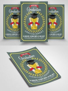 Postcard Design, Print Templates, Flyer Template, I Am Awesome, Graduation, Free, Card Templates Printable, Moving On, College Graduation