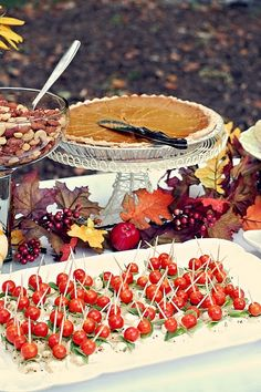 Fall party spread. Maybe do tomato, bacon, and either mozzarella, swiss, or gouda. It would be super easy