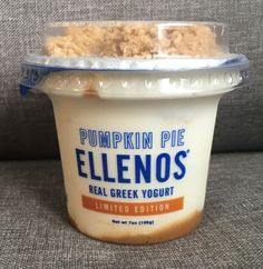 This limited-time pumpkin pie Greek yogurt from Seattle-based Ellenos tastes like fall in a cup. There's no other way to put it. It features a swirl of pumpkin purée and pumpkin cookie crumble, and when it's all mixed together it tastes like dessert for breakfast. Get it while you can!