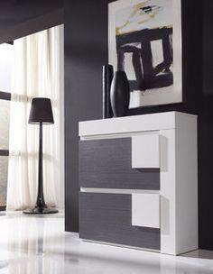 meuble chaussures moderne sofia 2 tiroirs coloris blanc et gris cendr