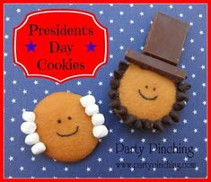 Presidents' Day Snacks for Kids — Presidents' Day cookies by Party Pinching. The instructions shows you how to make George and Abe by embellishing vanilla wafers.