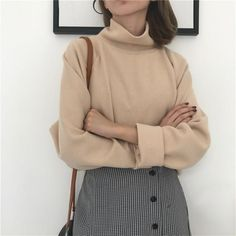 2019 Women Black White Clothes Turtleneck Pullovers Loose Solid Autumn Knitted Top Crocheted Batwing Sleeve Sweater