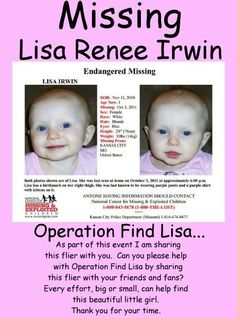 Please re-pin and re-post to help find Lisa Renee Irwin!
