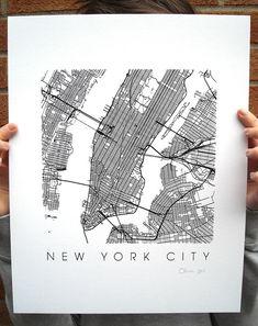 New York Map Art Screen Print  11x14 by iLikeMaps on Etsy, $25.00