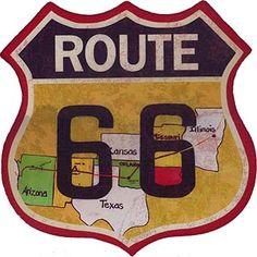23456. - ROADSIDE -   ROUTE 66 - HISTORIC - The Main Street of America - Modelo colorido e envelhecido - cortada no formato - 29x29-.