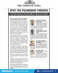 Press Note on Pulmonary Fibrosis in today Times of India. Early detection of pulmonary fibrosis is the key to slowing progressions and improving quality of life. #pulmonology #pulmonaryfibrosis #drsameerarbat #india