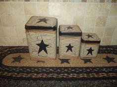 Primitive Crackle Tin Canisters Set of 3 ~ Black Stars ~ Country Decor #NaivePrimitive