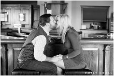 Glen Oaks Wedding, spring engagement photos, fireplace, indoor photos