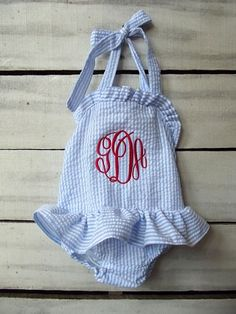 Girls monogrammed blue and white seersucker by dearbabyboutique1, $34.00